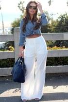 navy oversized Zara bag - sky blue Wet Seal top - ivory Tobi pants