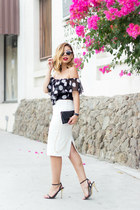 white pencil skirt Zara skirt - black polkadot Swell top