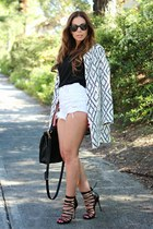 white Shop Lately coat - white daily look shorts - black shoemint heels