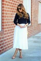 navy Zara top - white asos skirt - green Bebe necklace