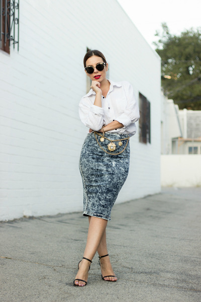 tan vintage belt - white sandals StyleMint heels - sky blue Dailylook skirt