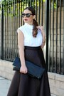 White-bow-button-up-asos-shirt-black-forever-21-bag
