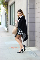 black checkered Missguided skirt - camel Zara bag - white bow Missguided blouse