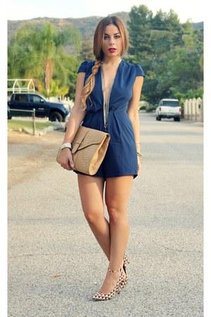 navy v-neck romper Tobi romper - tan Shoe Dazzle heels