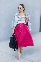 light blue dex clothing jacket - red vintage skirt - tan sandals zara Zara heels