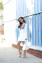 white boho H&M dress - white backpack deux lux bag - white white Zara sunglasses