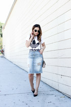 turquoise blue denim dittos skirt - heather gray leather vince bag
