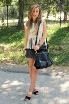 dark khaki daily look top - black Forever 21 skirt - camel Coye Nokes heels