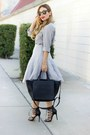 Heather-gray-silk-button-up-dex-clothing-shirt-black-faux-fur-black-zara-bag