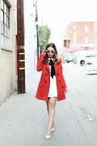 red Zara coat - white Missguided blouse - white slingback shoemint heels