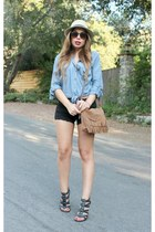 light brown Wet Seal bag - black Wet Seal shorts - sky blue Wet Seal blouse