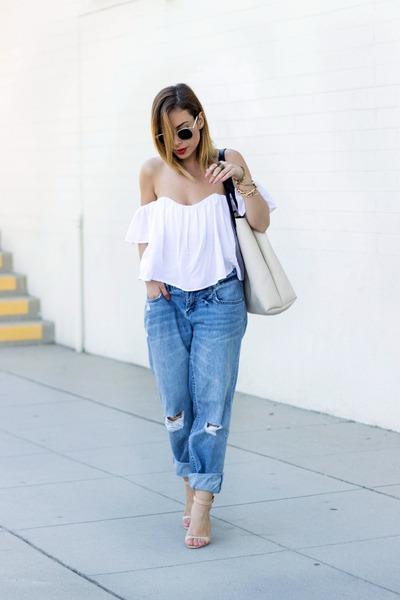 white Lulus top - sky blue boyfriend jeans Billabong jeans