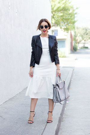 white midi Shabby Apple dress - black leather black Motel Rocks jacket