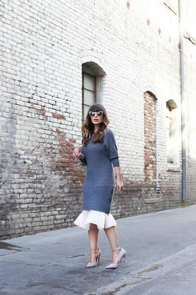 Charcoal-gray-cosette-dress-silver-cat-eye-pared-eyewear-sunglasses