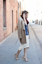 tan tailored Lioness coat - sky blue denim shirt Bella Dahl shirt