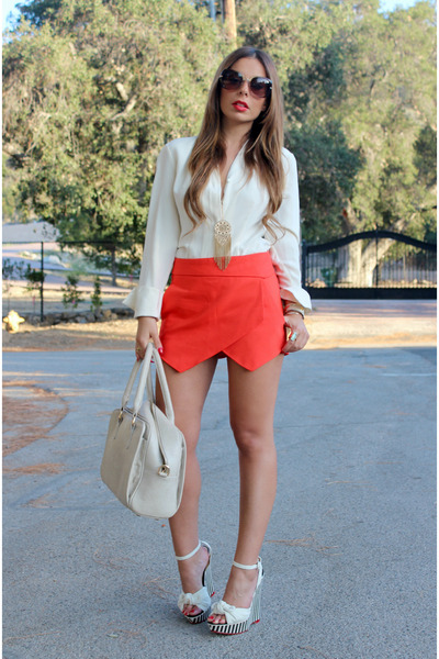off white vintage blouse - red skort zara red Zara shorts