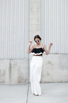 white cat eye quay sunglasses - white wide leg Tobi pants