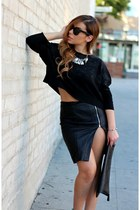 black Zara sweater - black foreign exchange skirt