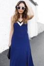 Blue-slipdress-express-dress-black-clutch-express-bag