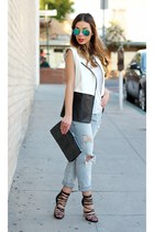 black shoemint heels - sky blue daily look jeans - white Nordstrom vest