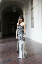 beige sequins LittleMistress dress - black strappy lulus heels