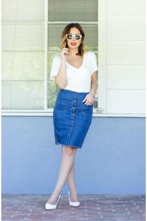 white cotton Urban Outfitters shirt - white retro Zara sunglasses
