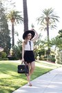 Black-boater-brixton-hat-white-bow-ruffle-xoxo-blouse