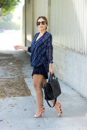 navy mini flounce Zara skirt - navy plaid chiffon dex clothing blouse