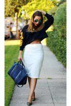 navy Forever 21 sweater - white Zara skirt