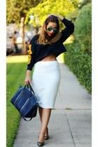 navy Forever 21 sweater - white Zara skirt