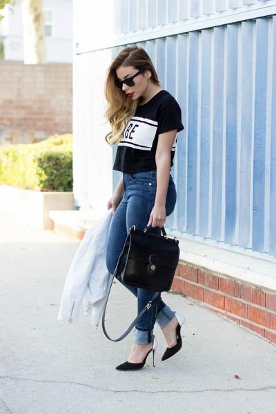 black Lovers  Friends t-shirt - blue Zara jeans - white ankle strap Schutz heels