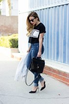 black Lovers  Friends t-shirt - blue Zara jeans - white ankle strap Schutz heels