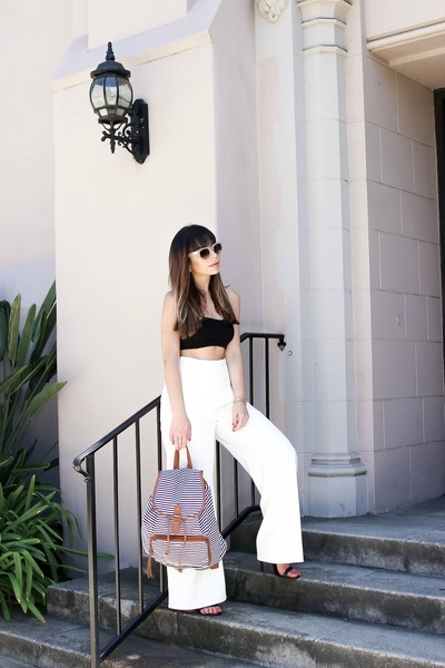 white backpack sears bag - black crop top sears top - white wide leg Tobi pants