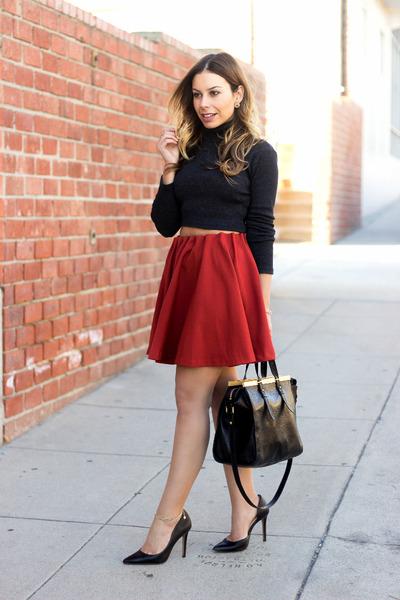 bf4039a84157e Brick Red Mini Skirt Lush Skirts, Gray Turtleneck Zara Sweaters ...