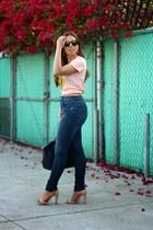 sky blue Zara jeans - peach Style Lately t-shirt - tan Zara sandals