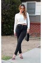 cream unknown sweater - black Forever 21 jeans - black vintage leather coach bag