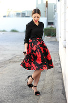 black Dailylook shirt - ruby red full Lucy Paris skirt