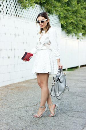 white cropped Tobi sweater - off white clear Celine sunglasses