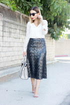 charcoal gray sequin midi Sabine skirt - white blouse Tinley Road top