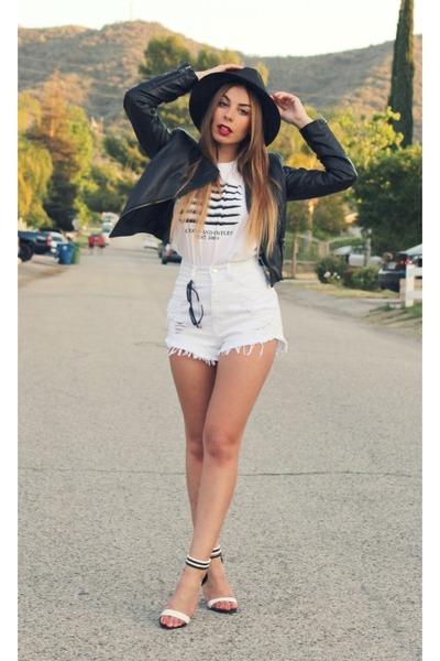 black Nasty Gal hat - black Motel Rocks jacket - white daily look shorts