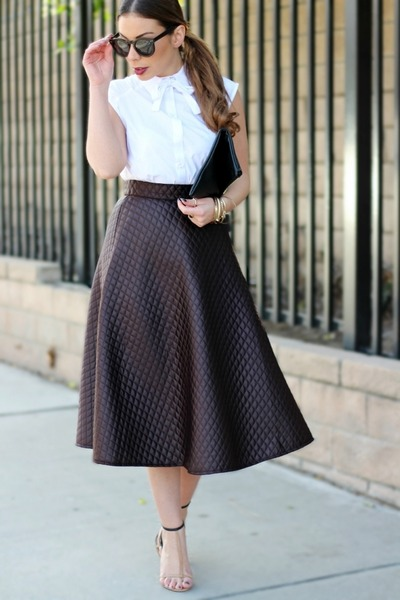 dark brown quilted flare asos skirt - white bow button-up asos shirt