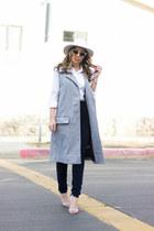 white fedora Myca hat - heather gray coat Joa coat