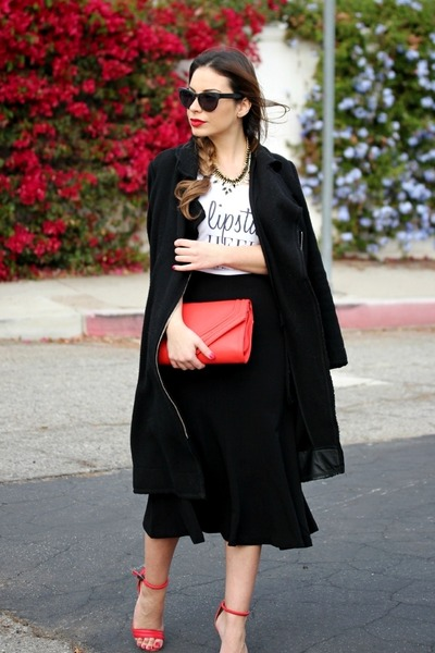 red Target heels - black black flare H&M skirt - white Style Lately t-shirt