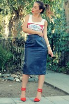 navy vintage skirt - white vintage top - red Shoe Cult heels