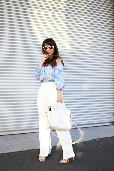 light blue MinkPink top - white retro Zara sunglasses