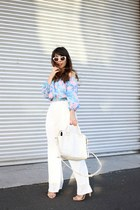 light blue MinkPink top - white retro Zara sunglasses
