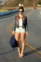 navy daily look jacket - navy Zara bag - light blue Urban Outfitters shorts