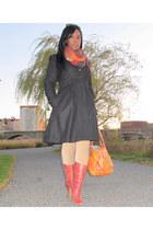 orange Jessica Simpson bag - maroon Wetseal boots - black H&M coat