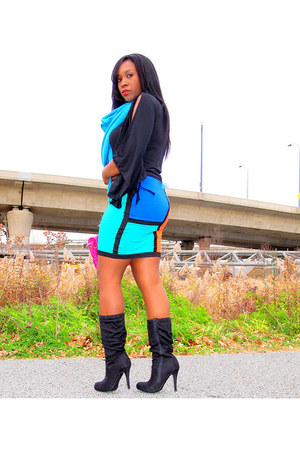 blue Motel Rocks skirt - black Paprika boots - hot pink unknown bag