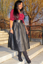 black Paprika boots - black leather H&M skirt - maroon Abyer top